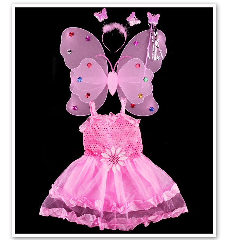 Fashion 4 Pieces Set Christmas Halloween Baby Costume Animal Butterfly Little Girls Birthday Party Princess Dress