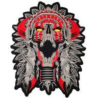 Патч для Костюмы Индийский Большой Рогатые главный смерть череп Мотоцикл Байкер наклейки одежды сзади 11 дюйм(ов) Mc Куртка мотоциклиста глад...
