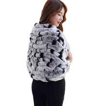 a2c691ef04b6e Women Real Autumn Knitted Rabbit Fur Shawl Winter Ladies Scarf Natural 2019  Warm Luxury Thick Pashmina