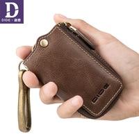 DIDE Genuine Leather Housekeeper Key Case Bag men keychain Coin Purse Wallet Organizer Covers Zipper Car Key Case Bag