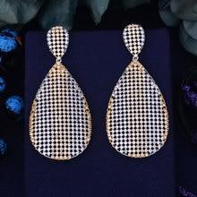 GODKI 66mm Luxury Tear Water Drop Trendy Gold Silver 2 Tone Mixed Zirconia Naija Wedding Party Earring Fashion Jewelry for Women
