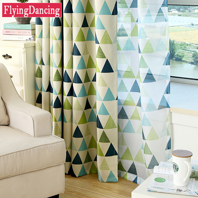 Dreieck Druck Fenster Moderne Stil Vorhänge Für Wohnzimmer