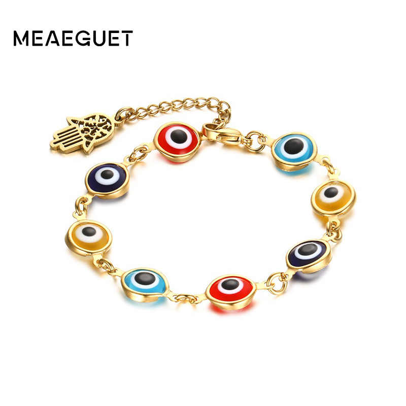 Hamsa Bracelets Bangles Women Stainless Steel Evil Gold Color Hand Chain Eye Jewelry