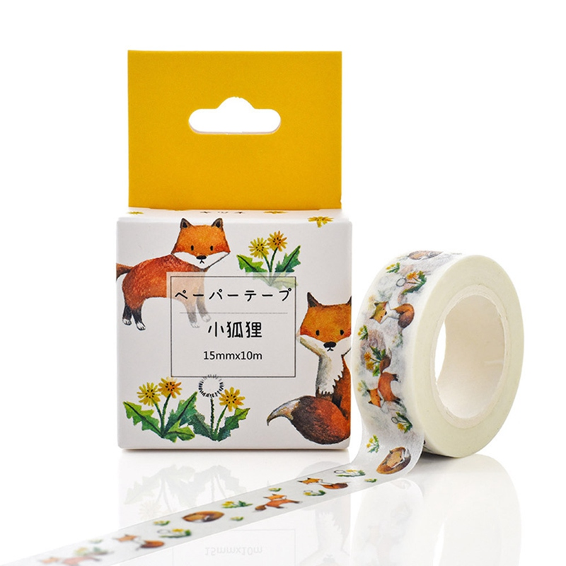 Pretty Japanese Flower Fox Tape Decorative Tape Scrapbook Paper Masking Sticker Photo Album Washi Tape