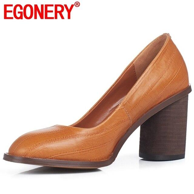 EGONERY ufficio donna pompe del cuoio genuino della mucca di modo di estate della molla delle donne punta rotonda più il formato super-tacchi alti di lavoro della signora scarpe