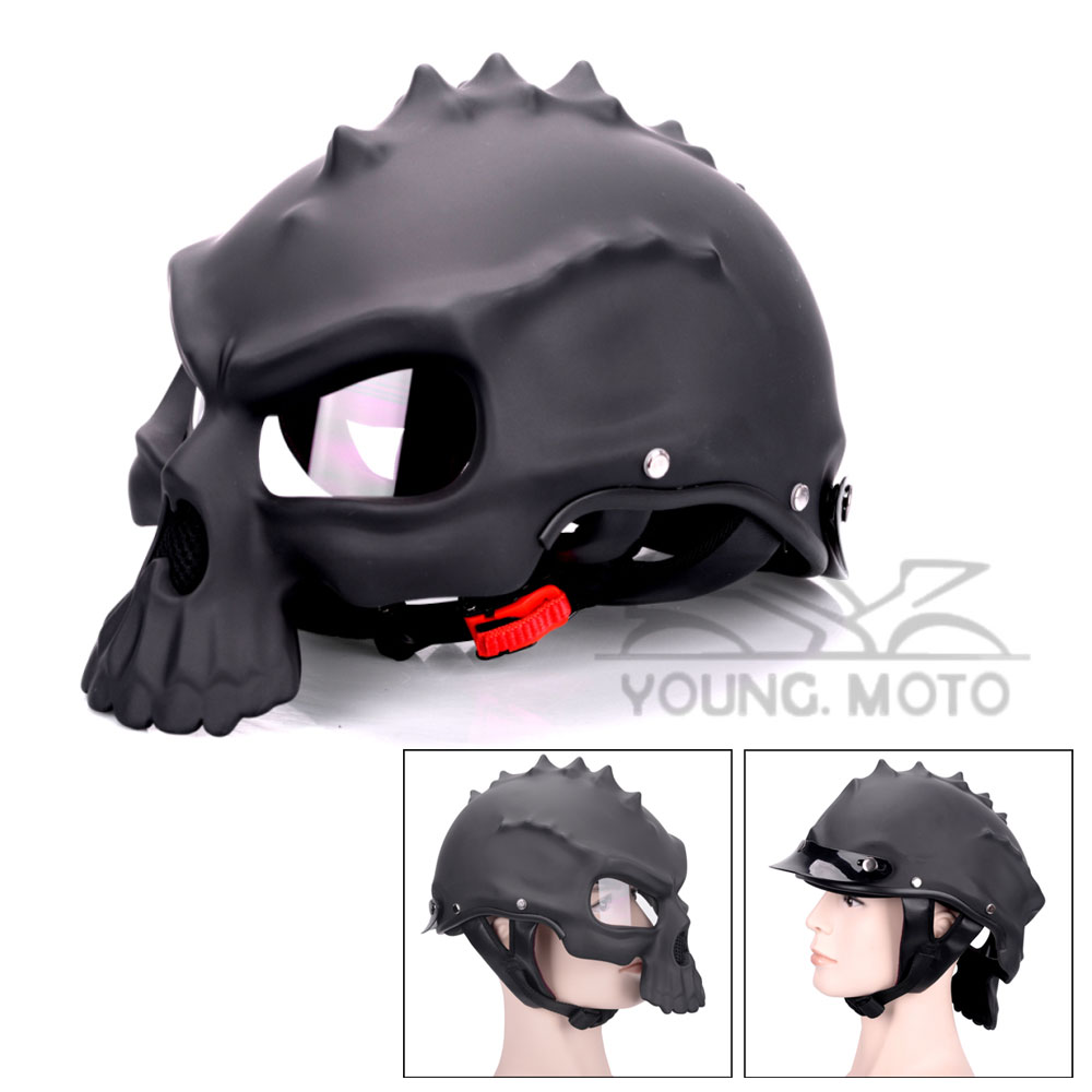 Black Skull Motorcycle font b Helmet b font Dual Use Half Face Capacetes Casco Novelty Retro