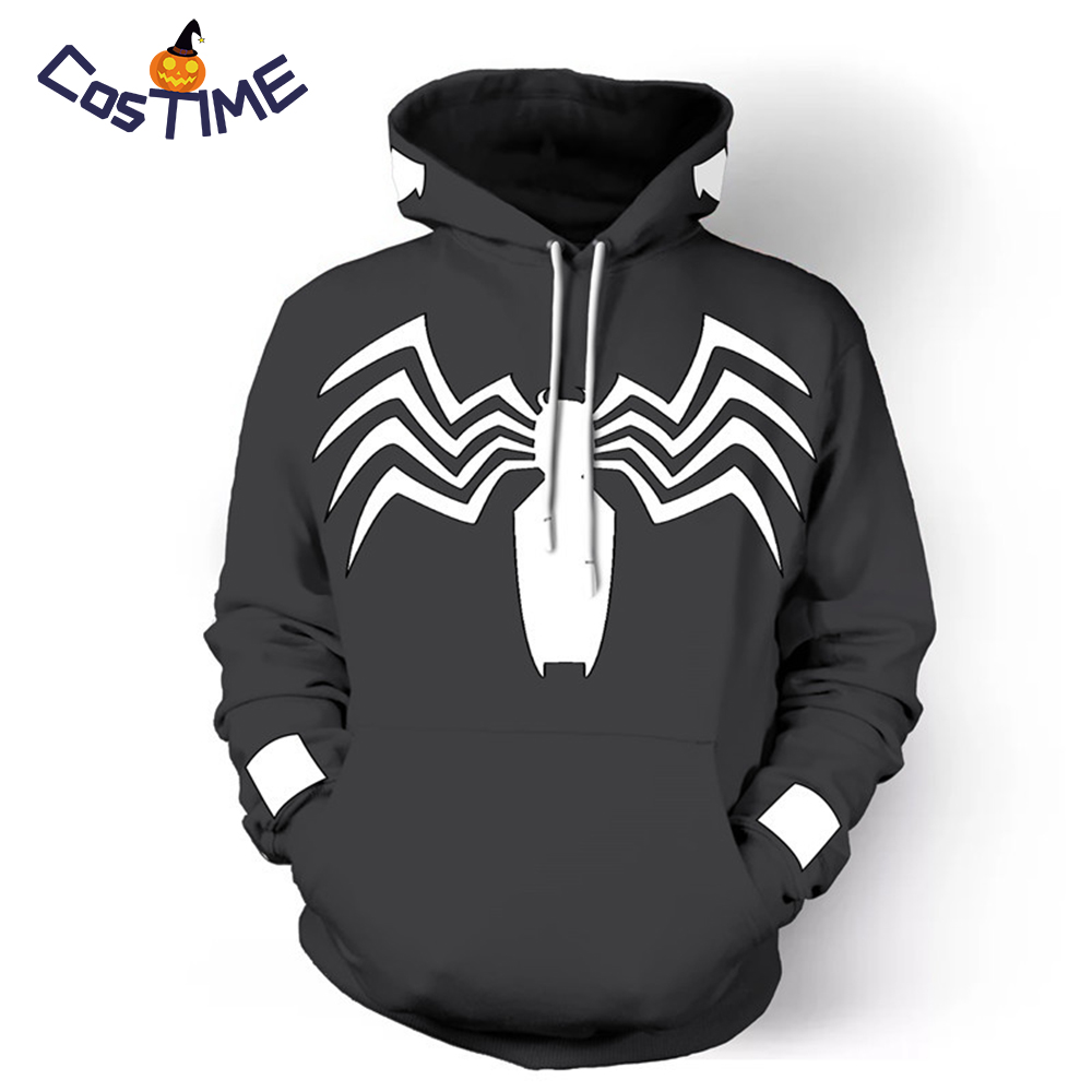 Cool Spider Venom Pullover Hoodie 2018 New Black Spiderman Hoodie Marvel Comics Men's Costume Sweatshirt Novelty Collection