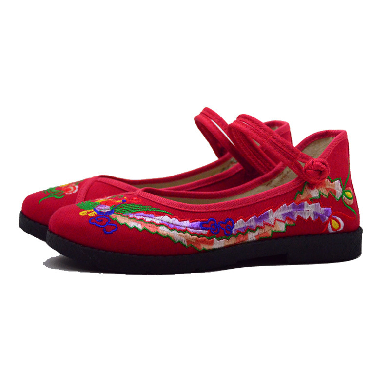 Fashion 2017 Old Peking Cloth Shoes, Chinese Style Totem Flats Mary Janes Embroidery Casual Shoes, Red+Black Women Shoes S189 (48)