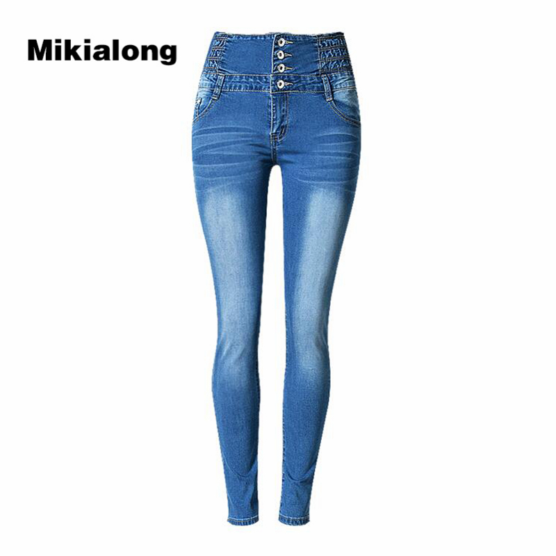 2017 Stretch High Waist Pencil Jeans Woman Blue Slim Skinny Jeans Femme Single-breasted Plus Size Women Jeans Pants масляный радиатор marta mt 2422