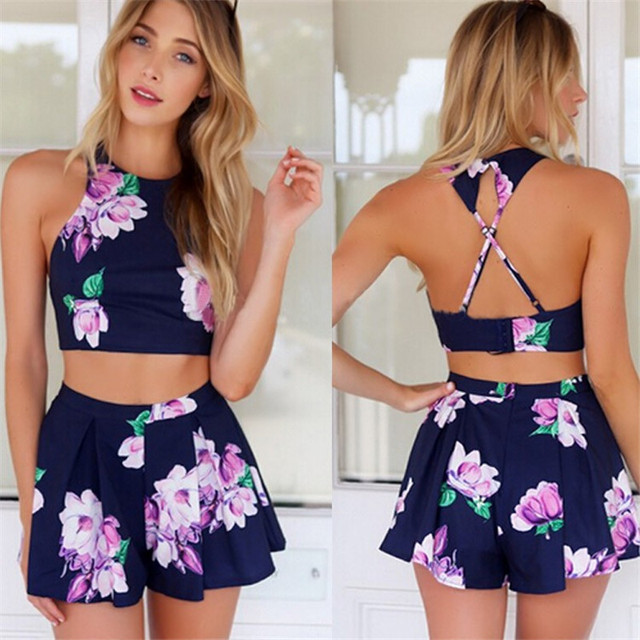 2017 Trendy Stylish Lady Sexy Women Floral Printed Pants Set Casual Halter Off-shoulder Backless Crop Tops and Shorts