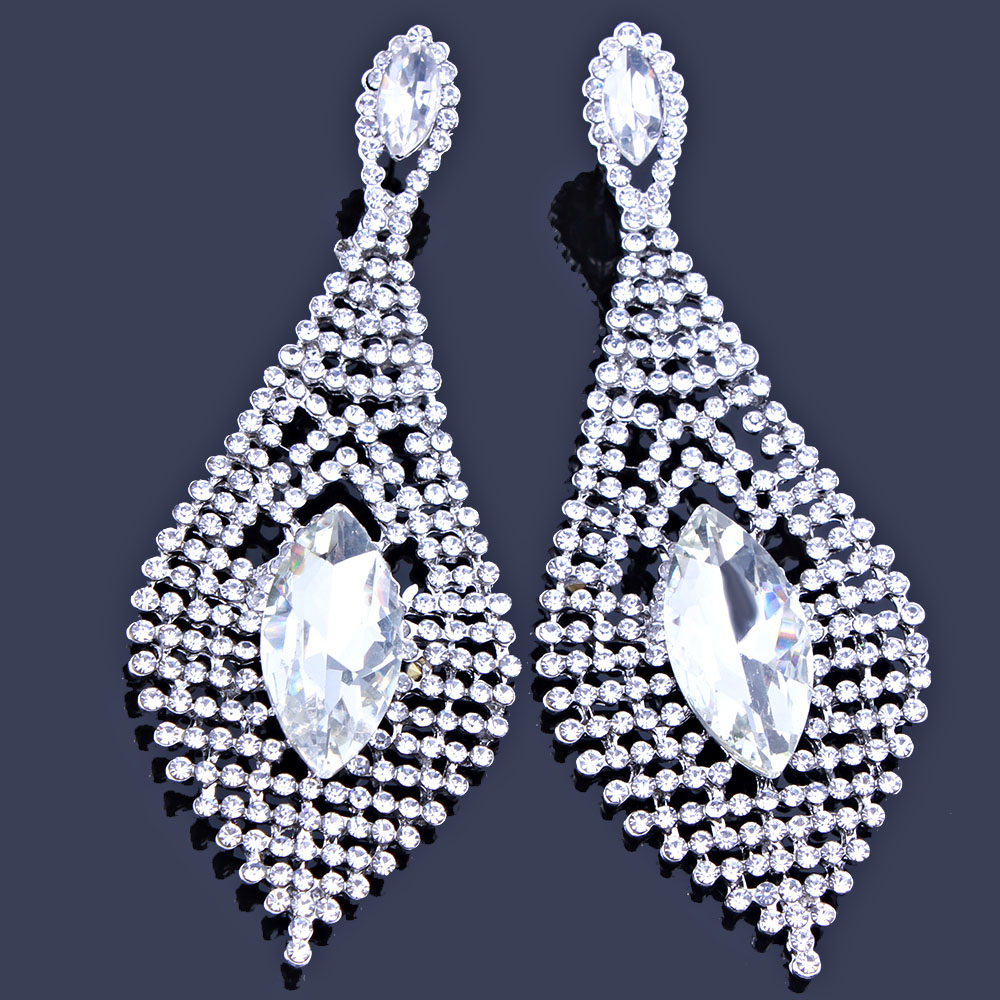 Farlena jewelry silver color crystal wedding long earrings leaf farlena jewelry silver color crystal wedding long earrings leaf shape chandelier earrings for women brides bridesmaid in drop earrings from jewelry arubaitofo Choice Image