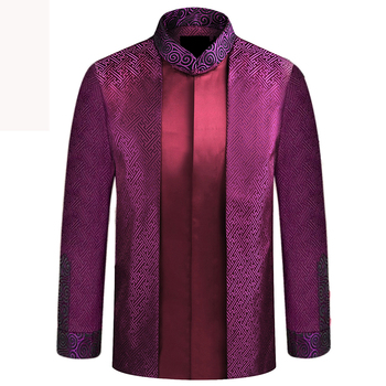 APEC Tang Suit Brand New Purple Chinese Traditional Men's Mandarin Collar Leader Costume Jackets Coats M L XL XXL XXXL YZT1209 image