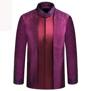 Image 1 - APEC Tang Takım Elbise Marka Yeni Mor Çin Geleneksel erkek Mandarin Yaka Lideri Kostüm Ceketler Coats M L XL XXL XXXL YZT1209