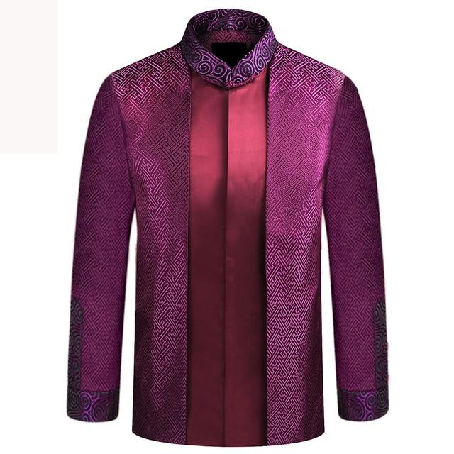 APEC טאנג חליפת חדש לגמרי סגול סיני מסורתי מנדרינית גברים צווארון מנהיג תלבושות מעילי מעילי M L XL XXL XXXL YZT1209
