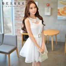 dabuwawa summer dress 2016 new sleeveless lace collar belt casual vintage big sizes gauze tutu dresses women white pink doll