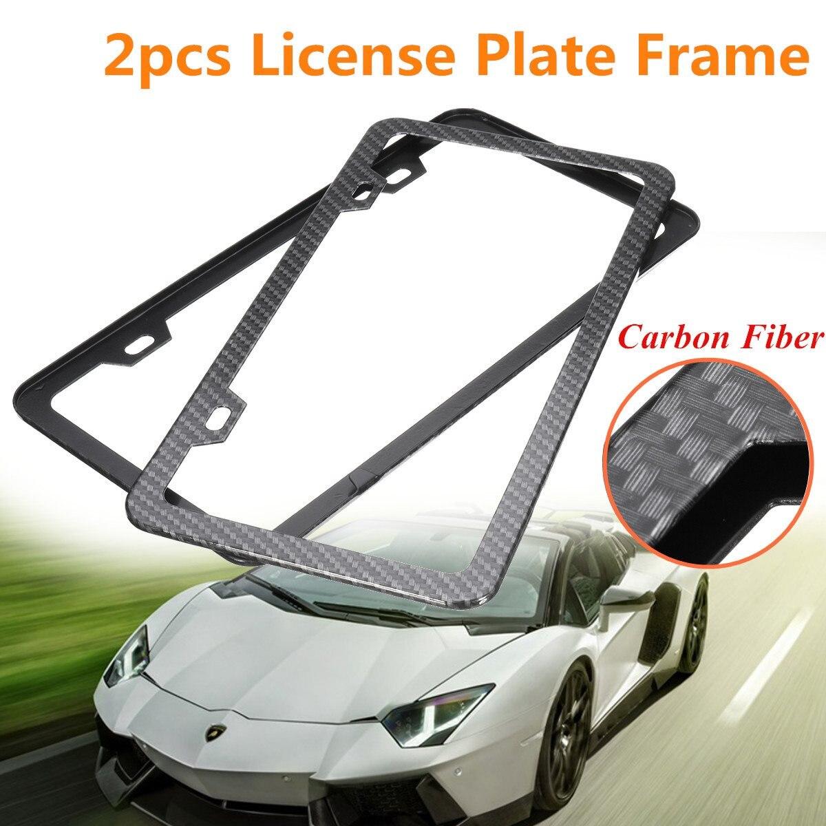 Design of car frame - 2x Universal Car Front Rear Carbon Fiber License Plate Frame Holder 2 Holes China