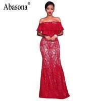 Abasona Women Ruffles Off Shoulder Dresses Summer Sexy Long Lace Dress Evening Party Wear Elegant Maxi