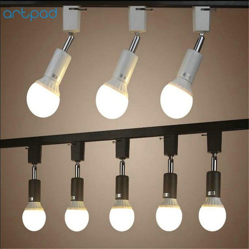 Us 15 4 22 Off Artpad 3pcs Pack Easy Mount Led Pendant Track Light E27 Base Metal Clothes Hotel Rail Spotlight Lamp Fixture In