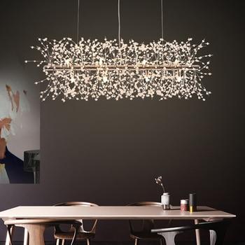LED nowoczesny wisiorek z kryształem światła oprawa europejski romantyczny kwiat mniszka lekarskiego lampy wiszące centrum handlowe Hotel jadalnia światła