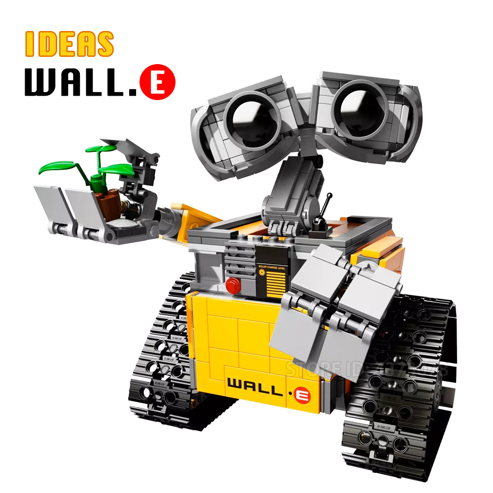 Fit Ideas Robot <font><b>21303</b></font> WALL E Set Yellow Action Figures Movie Story DIY Building Blocks Toys For Children Creative Gifts 677Pcs image