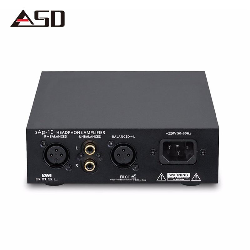 ASD SMSL SAP 10 Full Balanced Headphone Amplifier XLR RCA Input Built in Linear Power Supply TPA1620A2 Desktop Power AMP Black