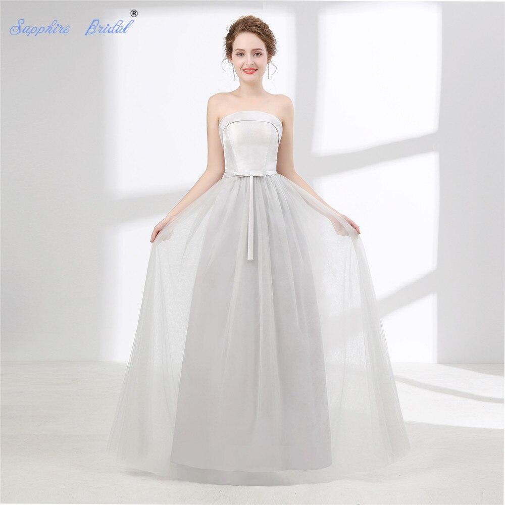 Sapphire Bridal Vestido De Noiva Simple Beach Wedding Dress White Ivory Silver Grey Strapless Long Boho Bridal Gown