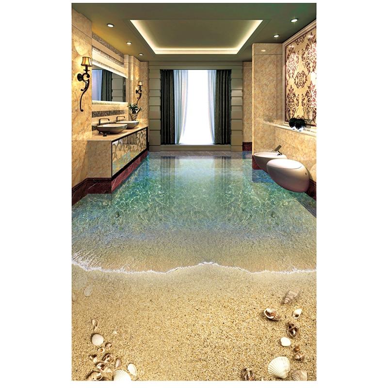 Waterproof Bathroom Walllpaper: 3d Bathroom Wallpaper Waterproof Romantic Beach Sea Shells