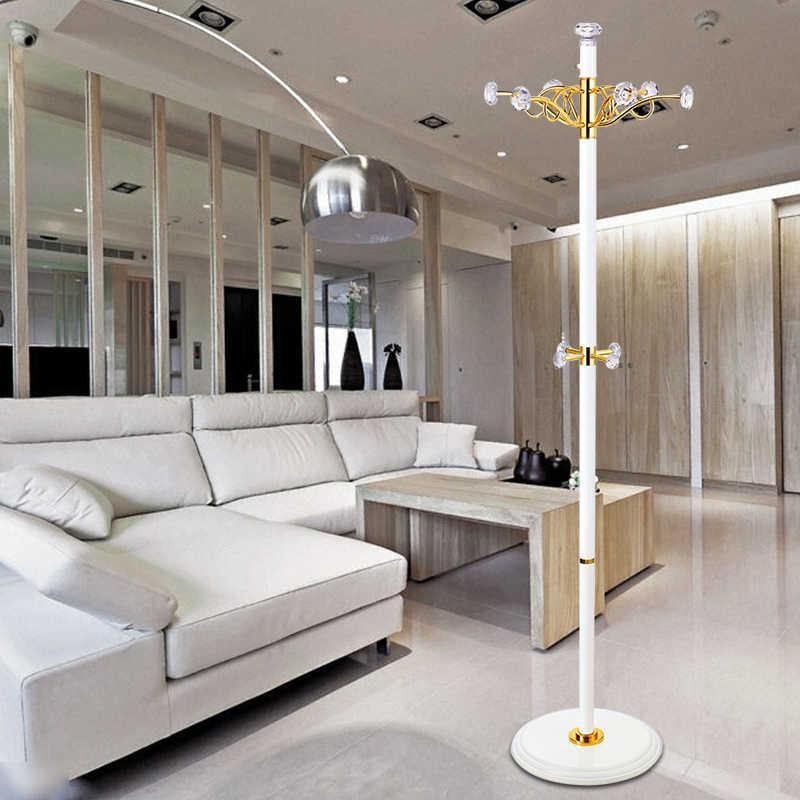 New crystal hook hat racks luxury gold white crystal coat rack simple modern multifunction hangers creative bedroom rotation