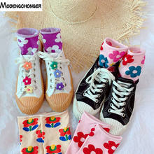 2019 New Ins Hot Women Cute Handmade Socks Korea Flowers Pendant Fashion Casual Crimping Candy Colorful Cotton Long