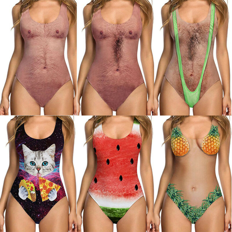 <font><b>Sexy</b></font> Funny Joke Chest Printed <font><b>Women</b></font> <font><b>Swimsuit</b></font> Bathing Suit Swimwear Bodysuit <font><b>One</b></font>-<font><b>Piece</b></font> <font><b>2019</b></font> Hot Swimming Costume image