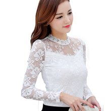 Women Blouses Shirts Elegant Crochet Long Sleeve (5 colors)