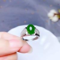 Real Natural Hetian Jasper Ring Women Men Anniversary Gift 10x8mm Beads Green Gemstone Adjustable Ring Fashion Jewelry AAAAA
