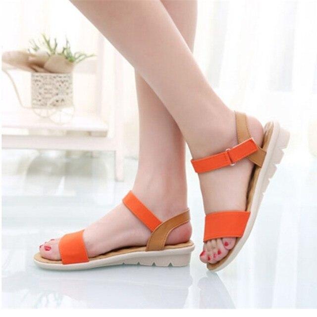 Women Leather Summer Sandals Flat Sandals Ladies Shoes