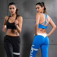 Women Sports Bras Gym Finess Tops Removable Cup Cross Back Strips Pullover Tanks Yoga Vest