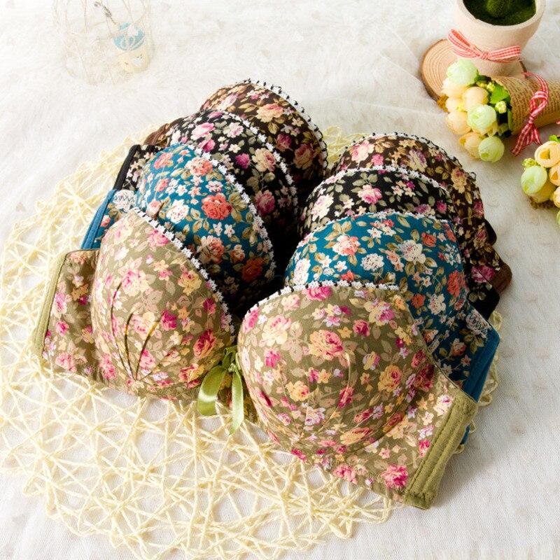 High quality Women Seamless Underwear Modal Comfortable Lovely Bra Set Floral Bra Brief Sets Sexy Bra + Panties