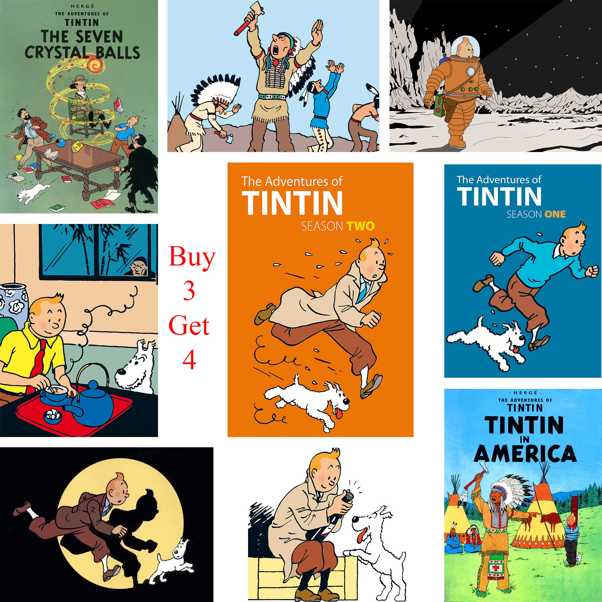 The Adventures of Tintin Poster Cartoon Wandaufkleber Weiß Gestrichenes Papier Prints Klar Bild Dekoration Schlafzimmer Bar
