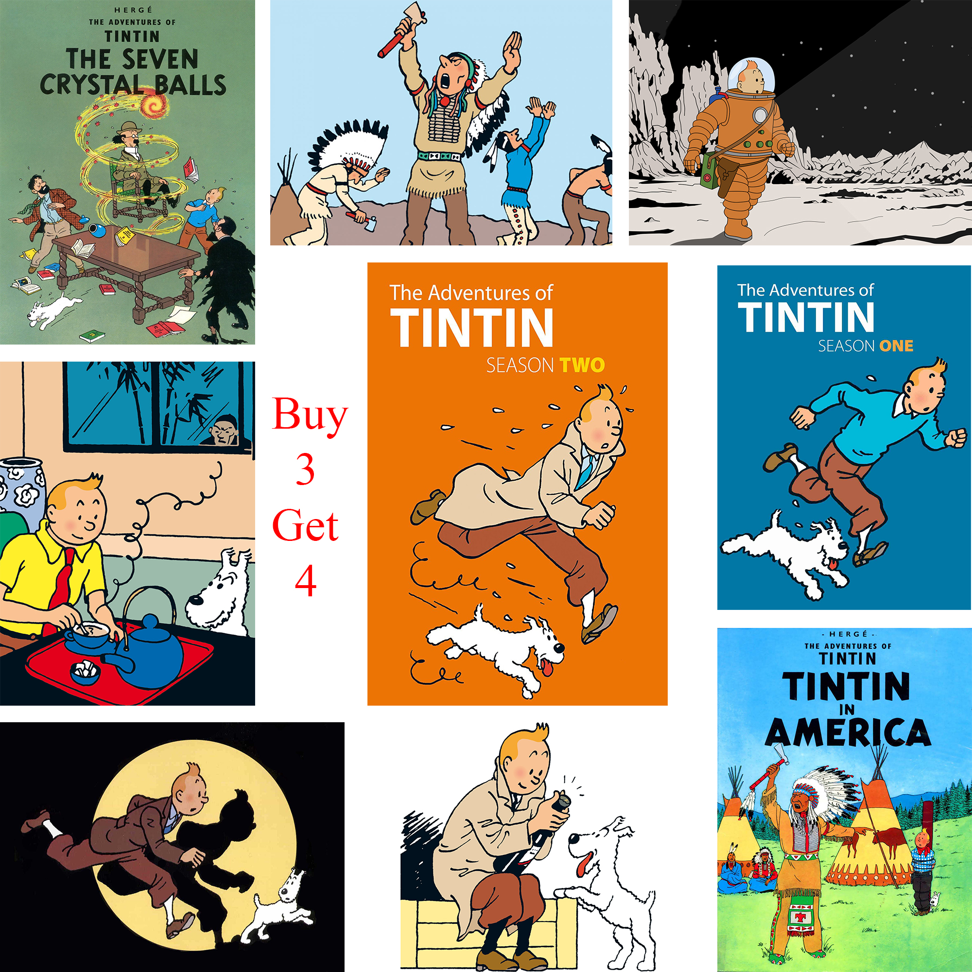 The Adventures of Tintin Posters Cartoon Wall Stickers White Coated Paper Prints Clear Image Home Decoration Bedroom Bar