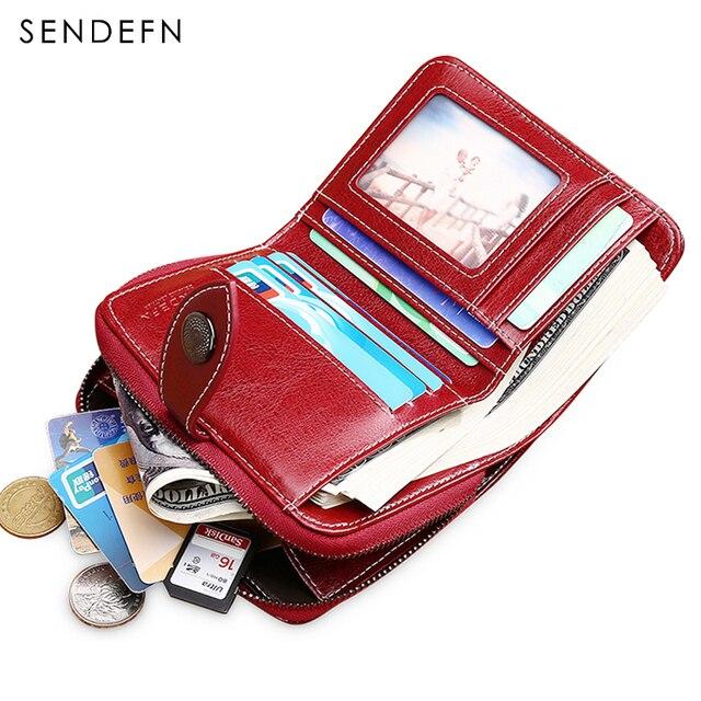 Sendefn Hollow Out Wallet Short Wallet Women Leather Vintage Women's Purse Zipper&Button Purse Small Wallet Coin Pocket 5147-69