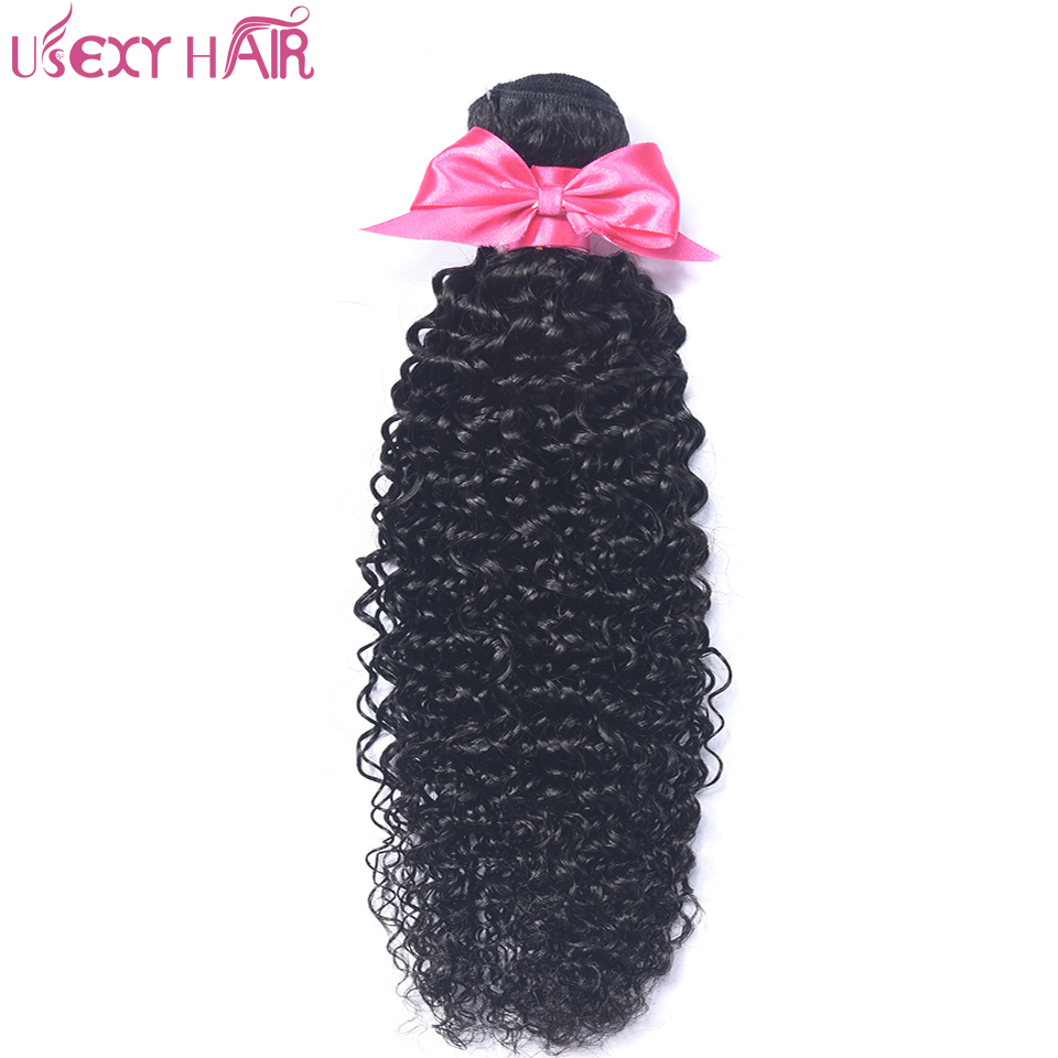 USEXY HAIR Brazilian Hair Weave Bundles 1 Piece Curly Weave Human Hair 8-28 Inch Natural Color Remy Hair Bundle No Tangle