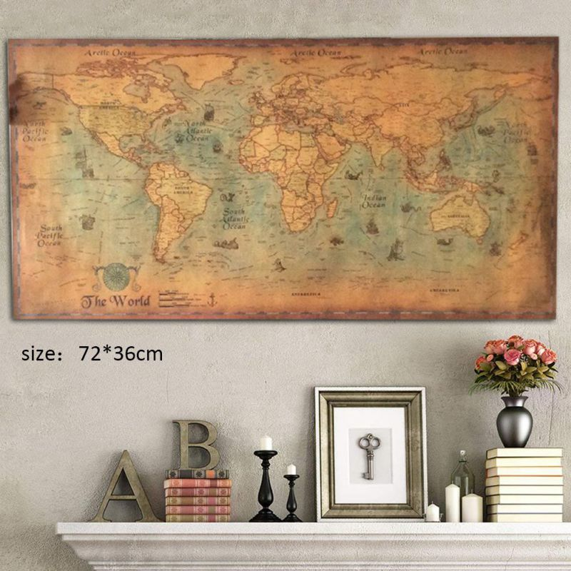 Antique Poster Painting World-Map Nautical Living-Room Ocean-Sea Retro Home-Decor Cafe