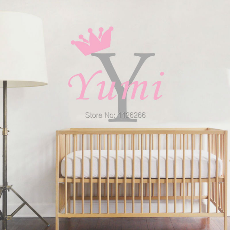 Personalized girls name crown monogram wall stickers for Initial decorations for home