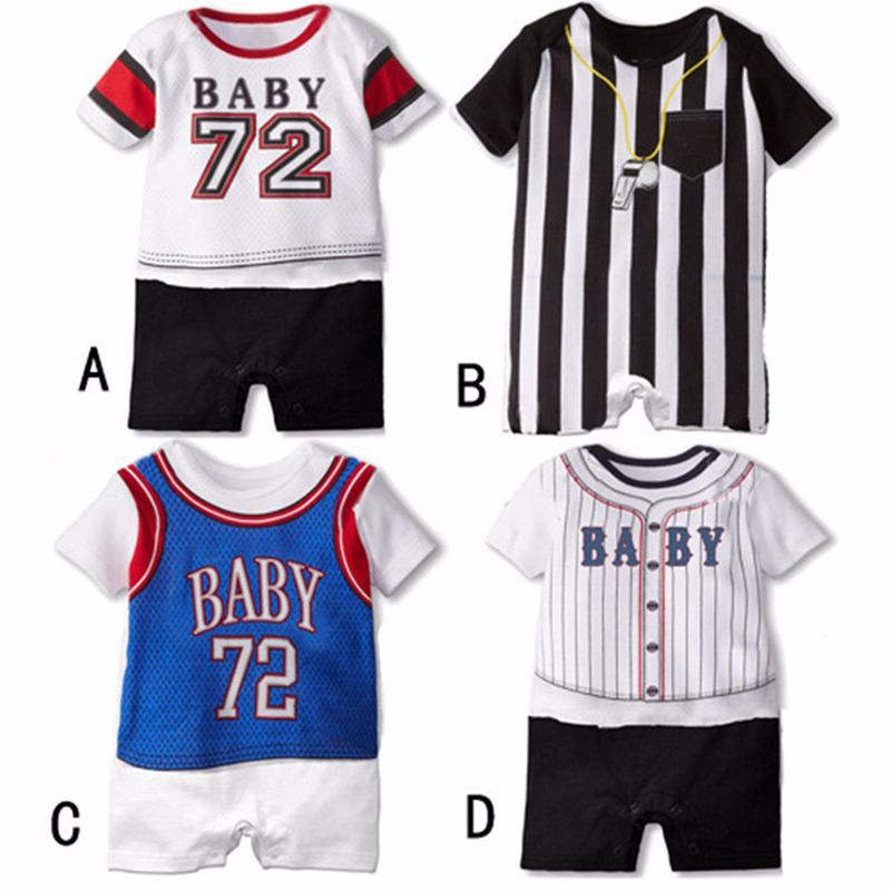 Baseball Sport Infant Baby Rompers Short Sleeve Baby Boy Girl Clothing Set Summer Jumpsuits For Newborn Baby Clothes Ropa Bebes 100% cotton ropa bebe baby girl rompers newborn 2017 new baby boys clothing summer short sleeve baby boys jumpsuits dq2901