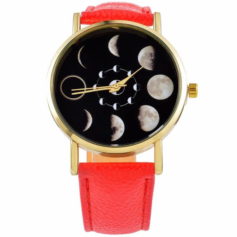 2018 Top Stilig klocka Casua Moon Change Phase Lunar Eclipse Unisex Klocka Kvinnor Män Armbandsur Klocka Armbandsur Special Gift