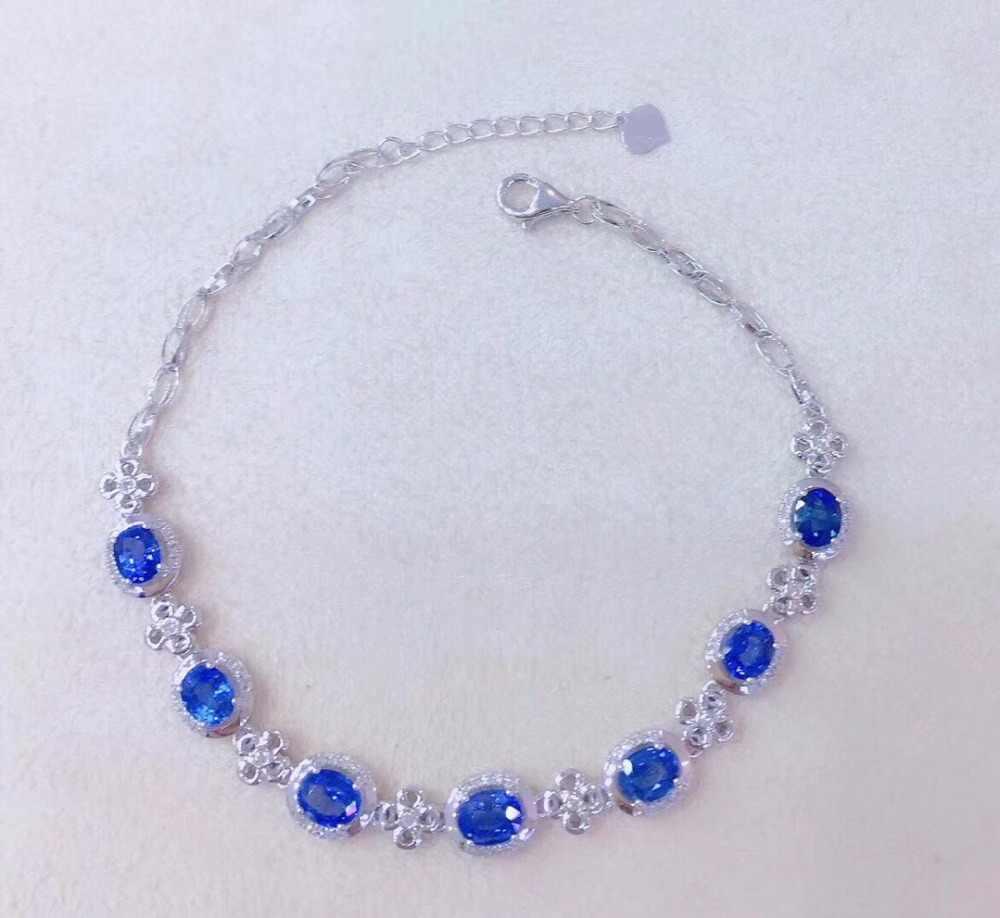 Puro Real 18 K Ouro AU750 G18K 100% 3.25ct Natural Azul Safira Pedras Preciosas Jóias Amor Pulseiras para as mulheres Pulseira Fina
