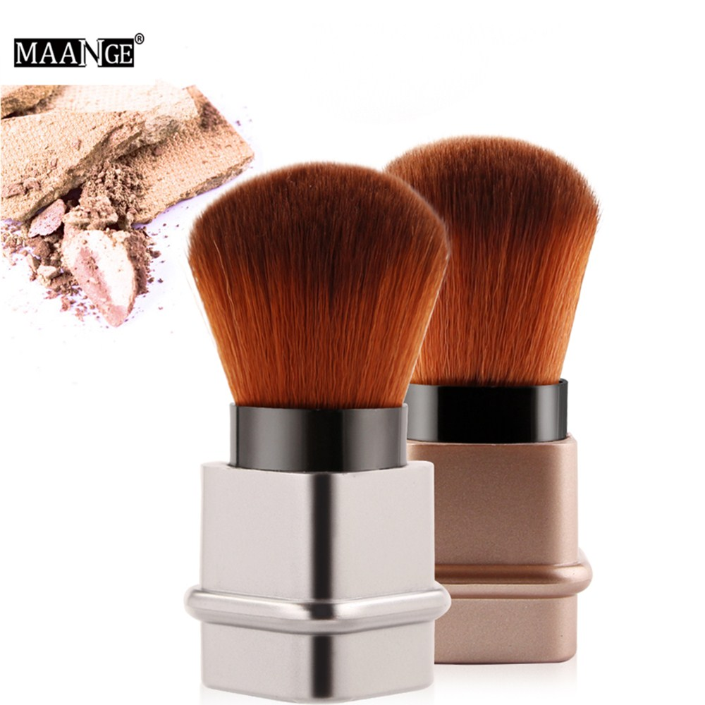 MAANGE Pro 1PCS Power Blush Makeup Brush Retractable Facial Portable Gold Sliver Cosmetic Foundation Beauty Make Up Brush Tools