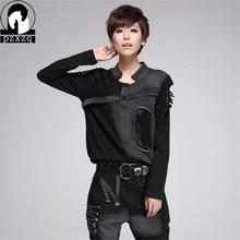Tシャツ黒プラスサイズの女性服 Mulheres Camiseta ストリートファッション女性中空アウト長袖