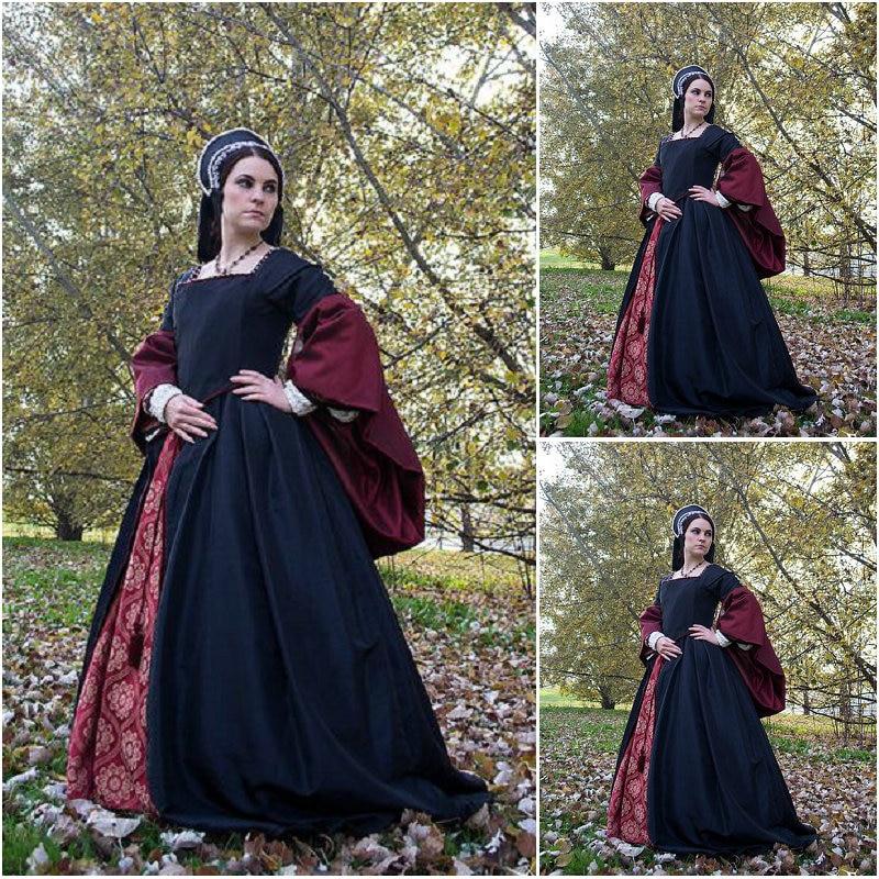 Geschiedenis! Klant gemaakt Luxs Zwart Vintage Kostuums Renaissance - Carnavalskostuums
