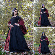 History!Customer-made Luxs Black Vintage Costumes Renaissance Dresses Steampunk dress Gothic Cosplay Halloween Dresses C-1144