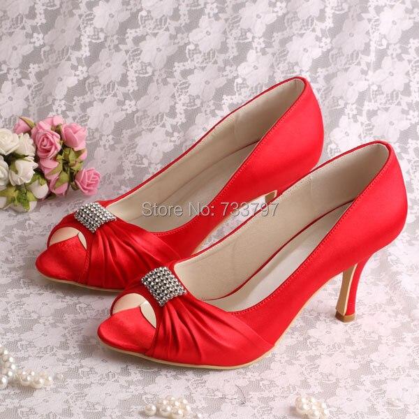(20 Colors)Custom Handmade Open Toe Red Heels Pumps Wedding Bridal Shoes 8CM