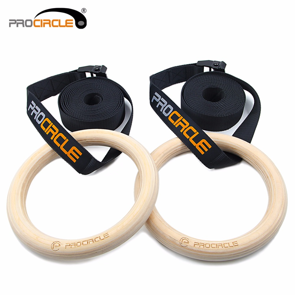 Fitness 100% Wood Gymnastic Rings 28mm/32mm Wooden Gym Rings with Enhanced Flexible Buckles & Durable Adjustable Straps title=